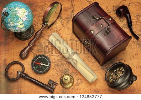 Travel Concept Image With Different Objects On Map Background