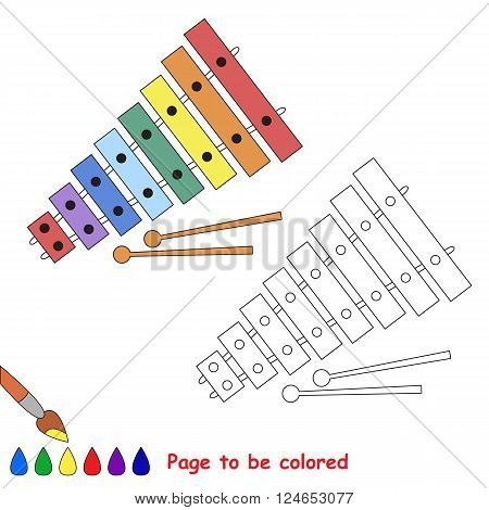 Xylophone to be colored. Coloring book for children. Visual game.