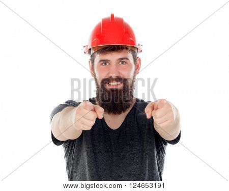 Young men with hipster look and red helmet pointing at camera isolated on white background