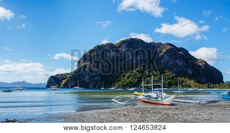 Sailboat in El Nido. Ocean view in the Palawan Island in the Philippines.