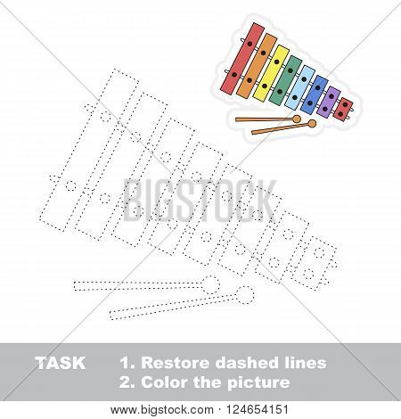 Xylophone in vector to be traced. Restore dashed line and color the picture. Trace game for children.