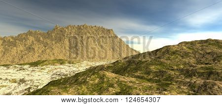 the rocky hill covered with sand with the sky covered with clouds. Sand and grass. 3D rendering, 3D illustration