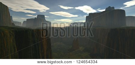 view of the wilderness from the plateau without water in evening time. Sunset and  the darkness in front of the camera. 3D rendering, 3D illustration