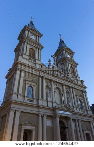 OSTRAVA, MORAVIAN-SILESIAN, CZECH REPUBLIC - APRIL 2, 2016: Cathedral of the Divine Saviour in Ostrava in Czech Republic