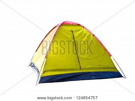Isolated yellow dome tent on white with clipping path