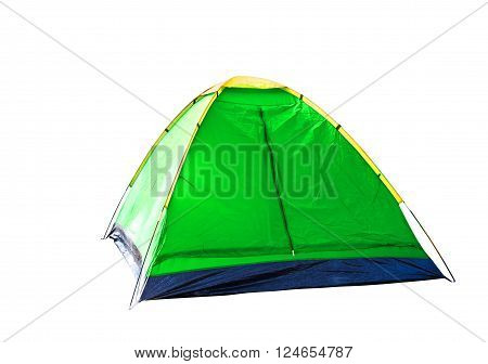 Isolated green dome tent on white with clipping path