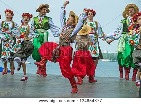 Dnepropetrovsk Ukraine - September 14 2013: Action of young artists dedicated to the City Day