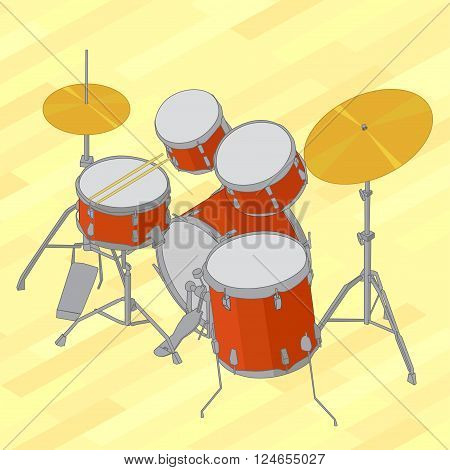 Drum set flat isometric picture. Vector illustration of flat isometric drum kit. Drum set flat isometric design vector illustration on yellow background.
