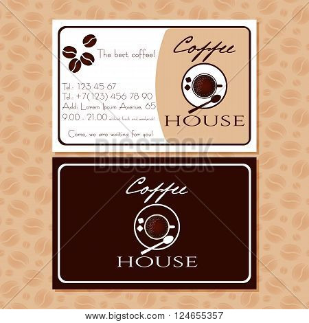 Coffee business cards for advertising of cafe. Handbill with coffee cup logo and contact information. Design cutaway visit card in retro style for coffee shop or cafe. Vector illustration
