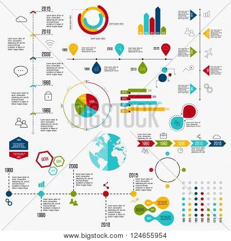 Business Data Market Elements Dot Bar Pie Charts Diagrams And Graphs Flat Icons Set. Can Be Used For