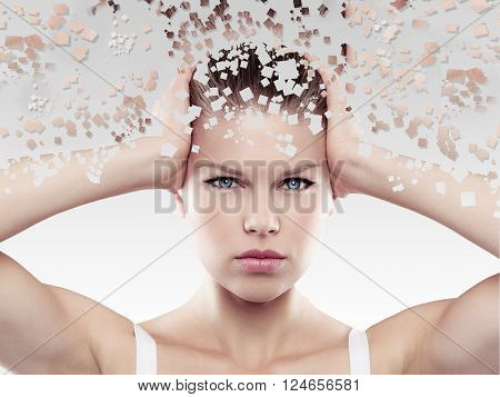 Health and skin care. Beautiful young female touching her head