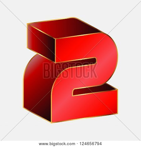 Number 2 vector 3d vector design template
