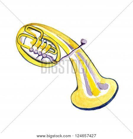 Watercolor copper brass band alto on white background