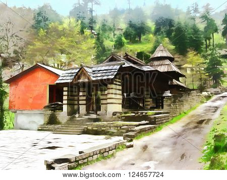 Watercolor. Himalayan Kullu Valley. Manali. India State of Himachal Pradesh. Travel tourism.