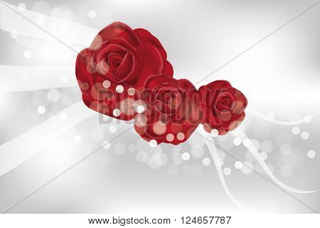 Beautiful rose flowers with translucent shimmering waves and bubbles