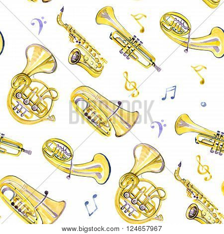 Watercolor copper brass band on white background