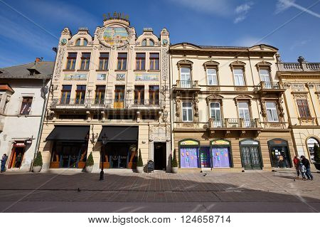 KOSICE, SLOVAKIA- MARCH 19, 2016: Historic architecture in the main square of Kosice city in eastern Slovakia on  March 19, 2016.
