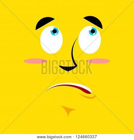 Cartoon Surprised Face On Yellow Background. Discouragement Emotion. Personality Confused. Pitiful F
