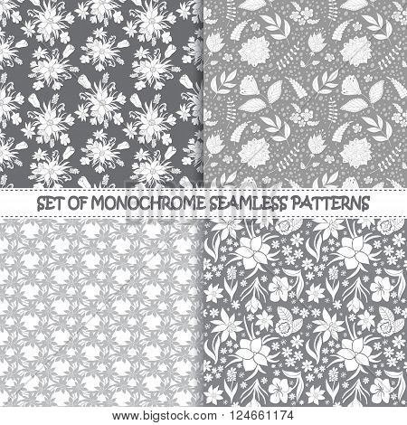 Set of seamless monochrome vector patterns.Floral patterns. Monochrome seamless vector patterns. Vector monochrome backgrounds. Set of floral vector seamless textile ornaments. Repeating floral JPG.