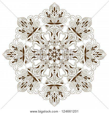 Mandala. Ethnic decorative elements. Hand drawn background. Islam, Arabic, Indian, ottoman motifs.Monochrome mandala symbol. Mandala JPG. Traditional mandala. Vector mandala for coloring.