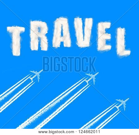 Flying airplanes on the blue sky. Travel concept.