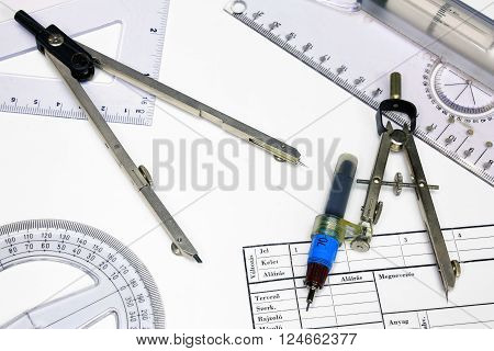 Technical tracing paper and rulers calipers with ink