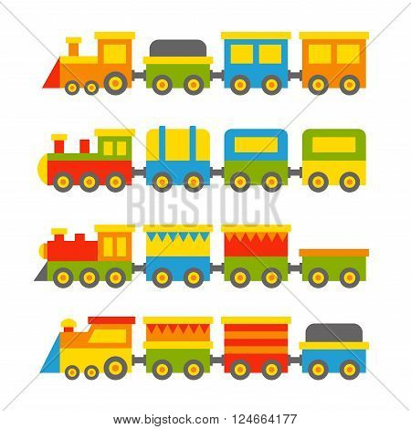 Simple Style Color Toy Trains and Wagons Set. Vector illustration