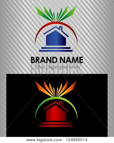 Real Estate and Sun Lights Concept Vector Icons, Logos, Sign, Symbol Template