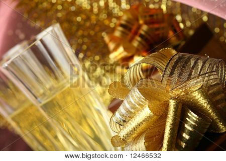 holyday card golden champagne