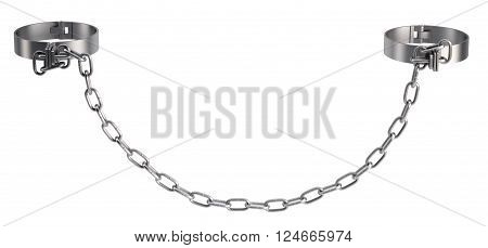 Cuffs with chain isolated on white background. 3D rendering