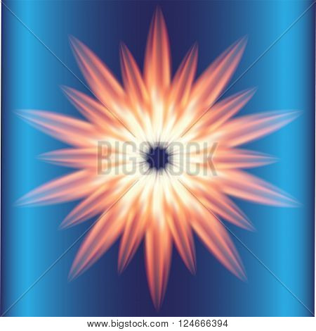 Ray Burst fire circle blue background vector design template