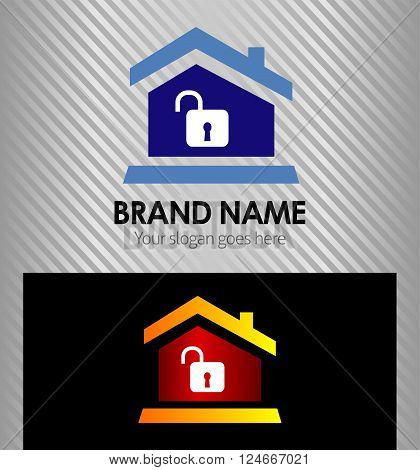 Real estate logo icon design template with house and unlock icon