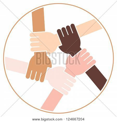 Five Hands Holding Each Other as an Interracial Solidarity. White