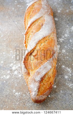 French Baguette on slate. Traditional french food