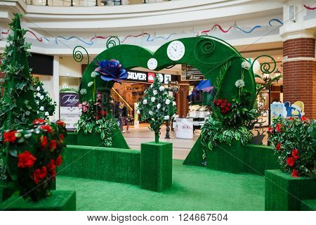 Kaliningrad Russia - April 05 2016: Flower decoration area in shopping mall