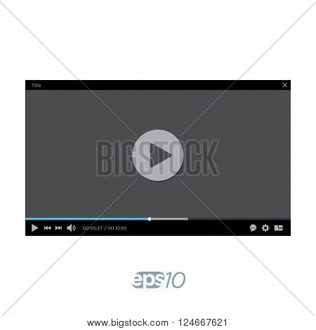 Video Player vector template for web interface