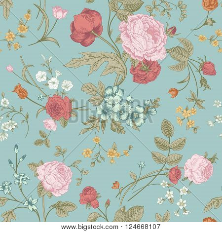 Seamless vector classic pattern with Victorian bouquet of colorful flowers on a mint background. Pink roses tulips blue delphinium.