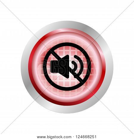 Red circle glossy web icon Mute sound on white background