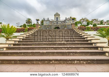 Mausoleum in the Jardines del Marquesado de la Quinta Roja or Jardin Victoria park La Orotava, Tenerife, Canary Islands, Spain