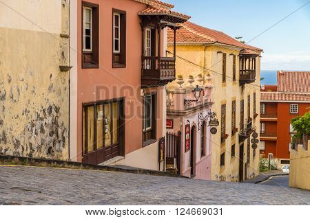 LA OROTAVA, SPAIN - JANUARY 20, 2016: Leading down ancient picturesque street in La Orotava old part of town.