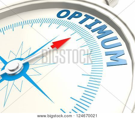 Compass with optimum word image, 3D rendering