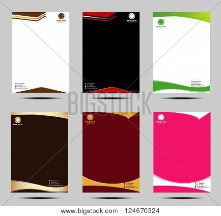 Set of business style letter head templates design