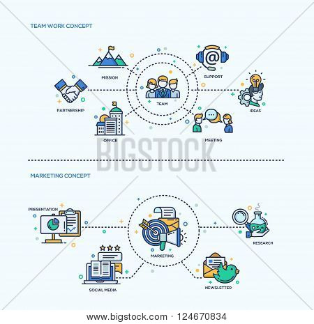 Team Work, Marketing icons business concepts compositions set. Vector modern line flat design infographics and webdesign elements. Mission, support, meeting, office, partnership, presentation, marketing, social media