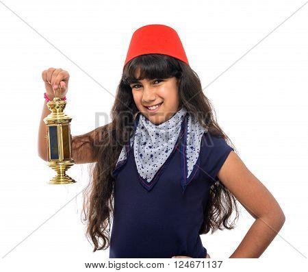 Happy Female Teenager With Fez Holding Ramadan Lantern