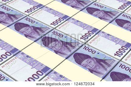 Korean won bills stacks background. 3D illustration