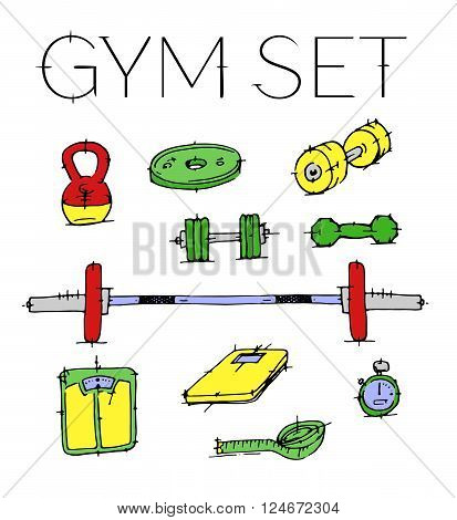 Colorful hand drawn vector stock illustration. Isolated on white