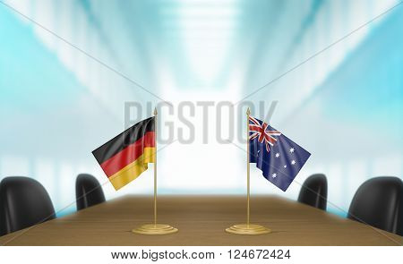 Germany and Australia relations and trade deal talks 3D rendering