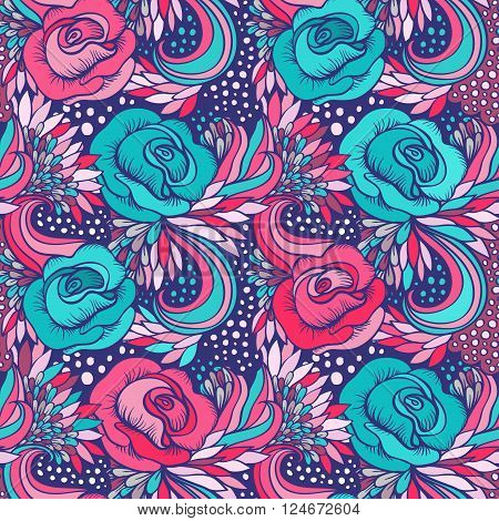Vector abstract decorative vintage vivid wave and flowers pattern
