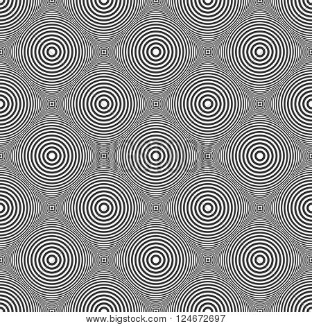 Seamless circles and rings pattern. Geometric checked diagonal texture. Vector art.