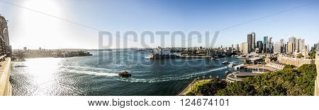 Sydney Australia - May 15 2015: Panorama of Sydney Australia from the edge of the Harbour Bridge